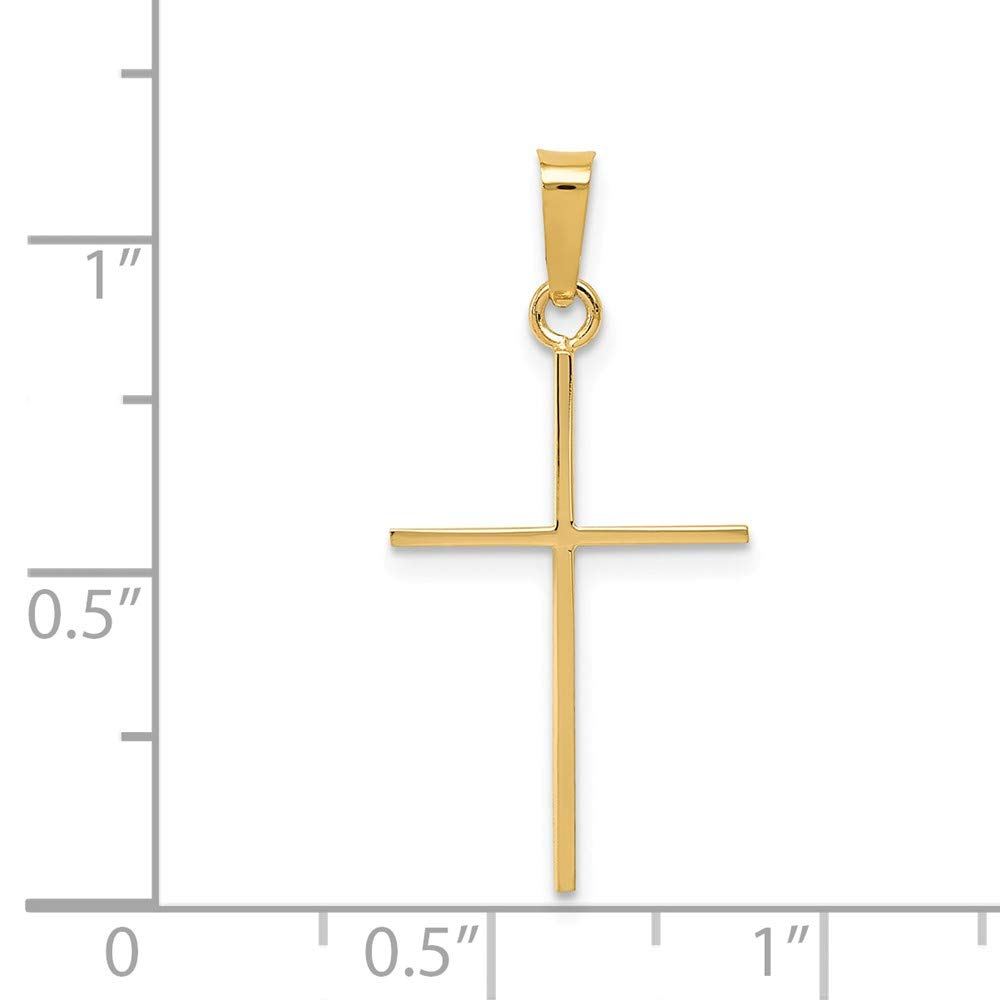 Jewel Tie 14k Gold Solid Polished Thin Small Cross Pendant Charm 1.1 Height