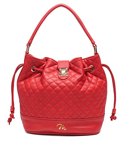 Womans Designer Leather Handbag for every occasion styled tote, shoulder, cross-body, handbag and bucket bag. Easy blend of chic sophisticated fashion and function with that pop of color by 2MU (Chic Red Handbag)