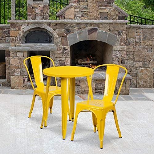 Flash Furniture Commercial Grade 24″ Round Yellow Metal Indoor-Outdoor Table Set