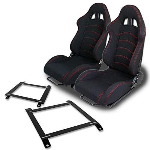 Pair of RST1BK Racing Seats+Mounting Bracket for Mazda Miata w/Bucket (Racing Seat Mounting Brackets)