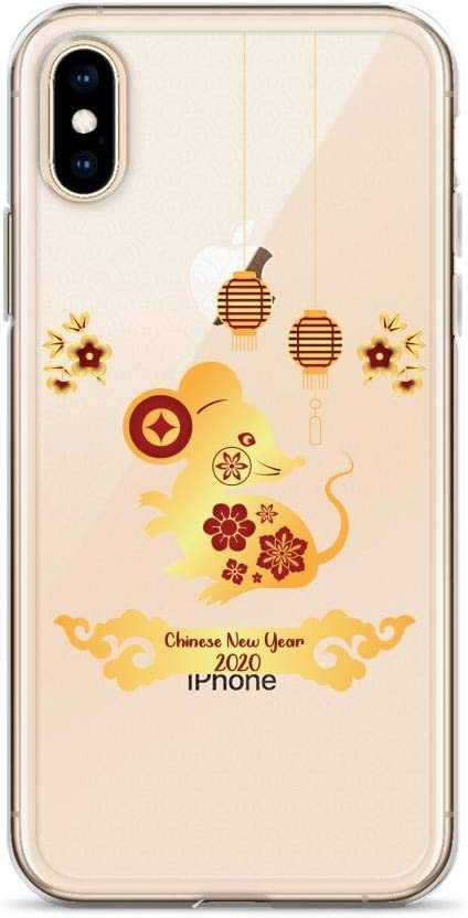Compatible for iPhone X//XS Cases 2020 Happy Chinese New Year of Rat Gold Mouse Rodents Anti Bumps Scratches
