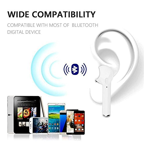 Bluetooth Headphones, Wireless Earbuds Stereo in Ear Eraphones Hands Free Noise Cancelling Compatible iPhone X 8 8plus 7 7plus 6S Samsung Galaxy S7 S8 iOS Android Smart Phones(White) by SERIOU (Image #3)