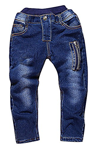 Sweety, Boy's Stylish Light Blue Skinny Jeans Zip Pockets Super Soft Pull-On, Blue 5