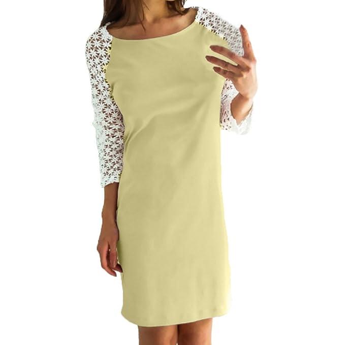 Vestidos Mujer Verano 2018 Casual, Zolimx Vestidos Playa Mujer Encaje Empalme Puro Color O-