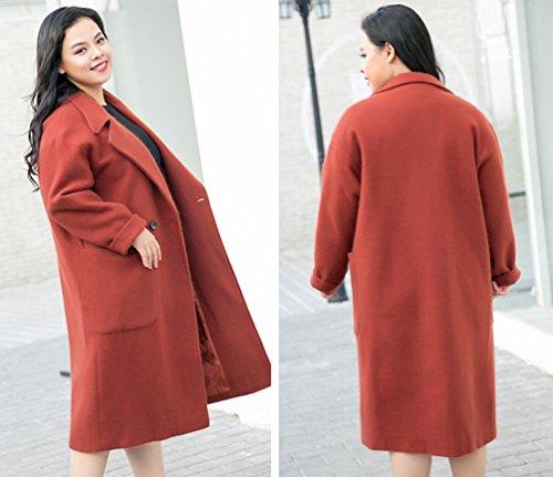 Hiver Mélange Loose Laine Niseng Manteau Casual Rouge Coat Veste Café Trench Femme De Longue awqE5nES