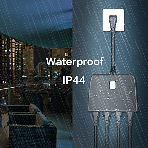 Outdoor Smart Plug Waterproof 2.4G WiFi Remote Control Switch Outlet (1 in 4 out) Compatible Work with Alexa Google Home Assistant by Smart Phone Smart Socket Indoor Outdoor Use by BellaElegance (Image #4)