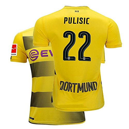 Fcdraon Mens Pulisic Jersey 2017/18 Borussia Dortmund Christian 22 BVB Home Adult Soccer Yellow (Medium) - Shirt Dortmund Borussia