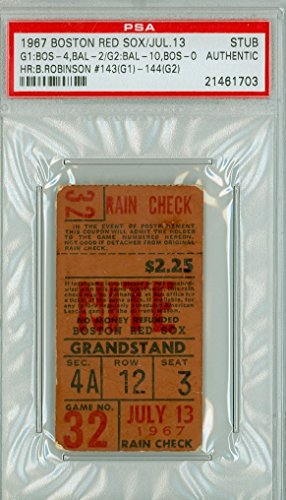 1967 Boston Red Sox Impossible Dream AL Champs Ticket Stub vs Baltimore Orioles Brooks Robinson 2 HR #143, #144 Doubleheader July 13, 1967 [Grades Very Good, lt creases] by Mickeys Cards