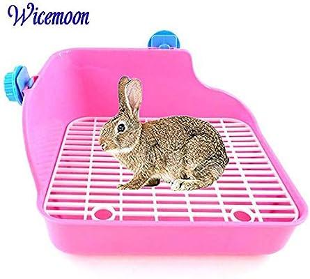 Wicemoon Inodoro limpio para conejos con doble rejilla para orina ...