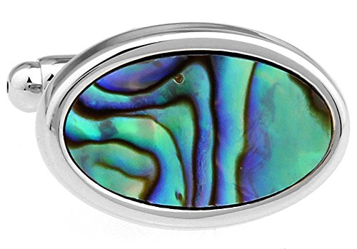 Mens Executive Cufflinks Designer Oval Electric Blue Green Abalone Shell Cuff (Abalone Designer Cufflinks)