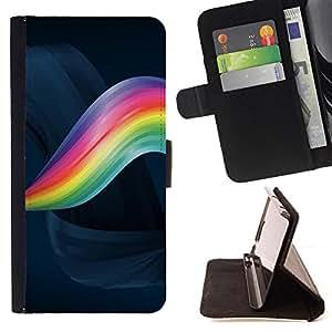 For Sony Xperia M2 - Abstract Color Wave /Funda de piel cubierta de la carpeta Foilo con cierre magn???¡¯????tico/ - Super Marley Shop -