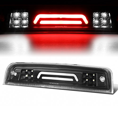 (For 09-17 Dodge RAM Truck 3D LED Bar 3rd Third Tail Brake Light Rear Cargo Lamp (Black/Clear))
