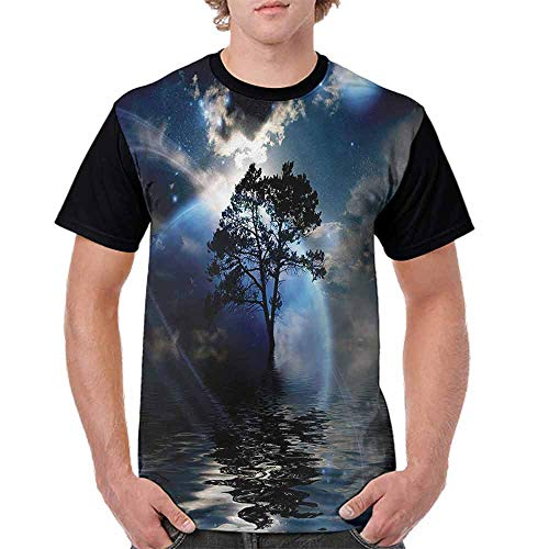 BlountDecor Loose T Shirt,Dark Clouds Moon and Stars Fashion Personality Customization