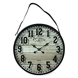 The Straphanger Clock, Iconic Numerals, Reclaimed Repurposed Vintage Style, Gray MDF Wood Panel, Faux Leather Strap, Silver Buckle, 2 Ft Diameter (23 1/2 Inches) 1 AA Required, By Whole House Worlds