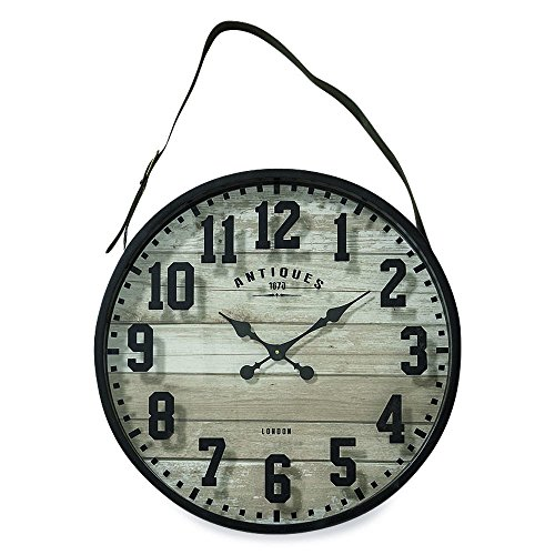 Whole House Worlds The Straphanger Clock, Iconic Numerals, Reclaimed Repurposed Vintage Style, Gray MDF Wood Panel, Faux Leather Strap, Silver Buckle, 2 Ft Diameter (23 1/2 Inches) 1 AA Required, By