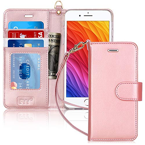 """FYY Case for iPhone 6S Plus/iPhone 6 Plus (5.5""""), [Kickstand Feature] Luxury PU Leather Wallet Case Flip Folio Cover with [Card Slots][Wrist Strap] for iPhone 6S+ Plus/iPhone 6+ Plus (5.5"""") Rose Gold"""