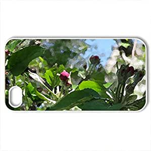 Apple blossom - Case Cover for iPhone 4 and 4s (Flowers Series, Watercolor style, White)