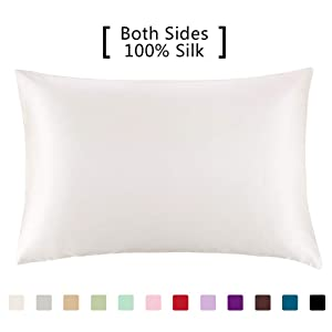 YANIBEST Silk Pillowcase for Hair and Skin - 600 Thread Count 100% Mulberry Silk Bed Pillowcase with Hidden Zipper, Queen Size Pillow Cases Ivory Natural White Without Bleach