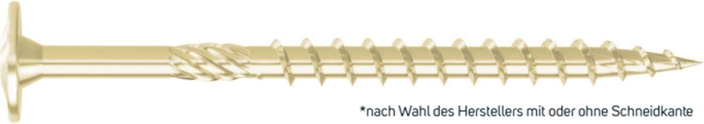 Mit bauaufsichtlicher Zulassung VE: 50 STCK Fr/äsrippen u L/ängenpr/ägung Profi-Buy JD-Plus Konstruktionsschraube 8,0 x 160MM gelb chromatiert Tellerkopf mit I-Stern gleitbeschichtet Teilgewinde