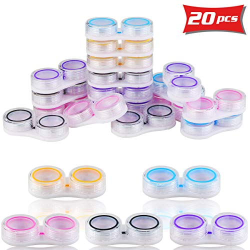 WFPLIS 20 Pack Contact Case Bulk - Clear Case for Contact Lens, Colored Contact Lenses Case with Rubber Ring