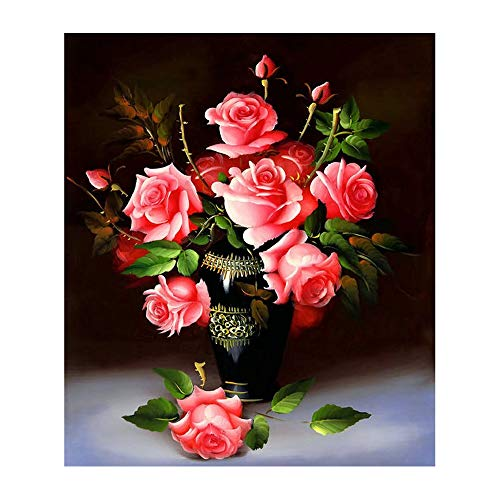 Grace Painter DIY 5D Flower Diamond Embroidery Painting Red Rose Floral Mosaic Diamond Painting Rhinestones Cross Stitch Full Drill Round Diamond Paint-By-Number Kit
