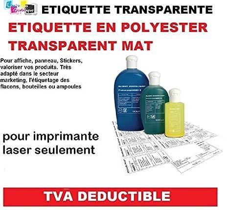 10 láminas de 24 etiquetas transparentes de poliéster mate de 70 x ...