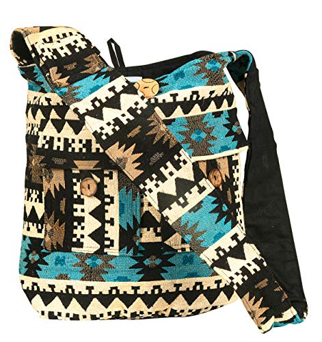 Hobo Quilted Handbags Bags - Tribe Azure Large Blue Quilted Hobo Shoulder Bag Crossbody Sling Beach Travel