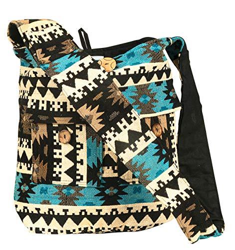Tribe Azure Large Blue Quilted Hobo Shoulder Bag Crossbody Sling Beach ()