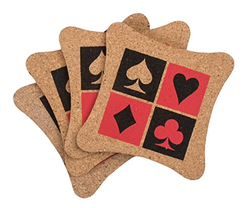 Party Partners 4 Count Poker Happy Hour Vintage Style Cork Coasters, Brown ()
