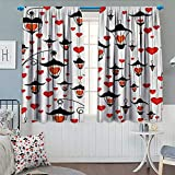 Love,Blackout Curtain,Lanterns and Heart for Valentines Day Small Lamp Classic Antique,Window Curtain Fabric,Vermillion Scarlet White Black,W96 x L108 inch