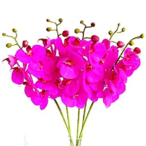 Htmeing 5 Pcs Artificial Butterfly Orchid Flower Fake Flowers Plant Home Wedding Decoration 26