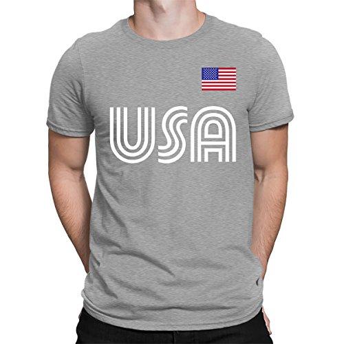 (SpiritForged Apparel United States Soccer Jersey Men's T-Shirt, Light Gray Small)