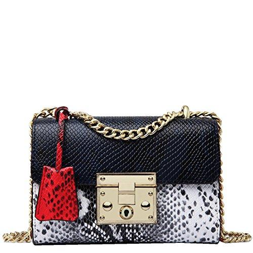 Yy.f Nuevos Bolsos De Cuero De Moda Cadena De Serpiente De Paquete Cuadrado Pequeño Grande Señoras Pequeño Paquete Cuadrado De 3 Colores Black