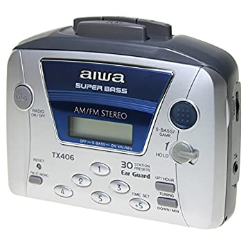 AIWA HS-TX406 - Walkman Cassette Radio Sintonizador digital AM/FM, 30 presintonías, Superbass, Reloj: Amazon.es: Electrónica