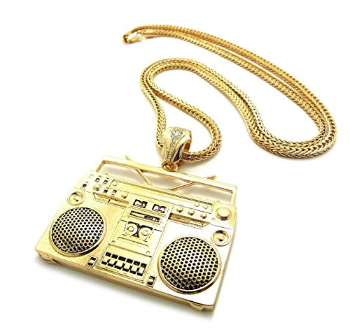 Mens Hip Hop Celebrity Style Gold Boombox Pendant Franco Chain Necklace