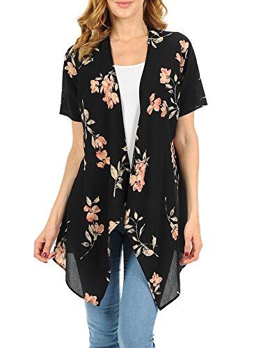 Geckatte Womens Summer Short Sleeve Floral Sheer Chiffon Open Front Kimono Cardigan Blouse ()