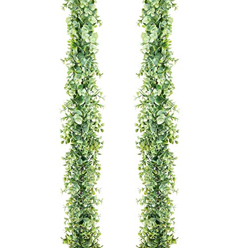 Artificial Boxwood Garland (Meiliy 2pcs Artificial Greenery Eucalyptus Garland Faux Boxwood Garland for Home Table Runner Wedding)