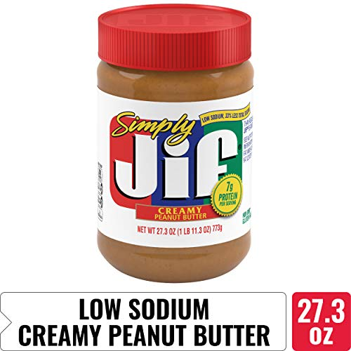 Low Sugar Peanut Butter - Simply Jif Creamy Peanut Butter, 27.3 oz. (Pack of 10) - 7g (7% DV) of Protein per Serving and 33% Less Sugar Than Regular Jif Peanut Butter - Smooth, Creamy Texture - No Stir Peanut Butter