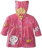 Kidorable Little Girls' Lucky Cat PU Raincoat, Pink, 6/6X