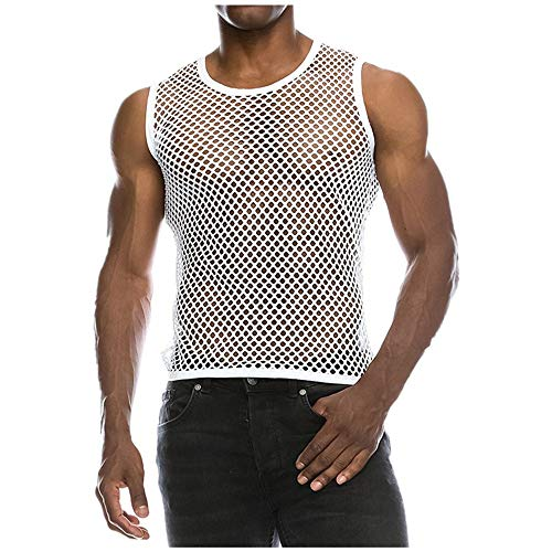 Respctful Mens Casual Muscle Mesh Hollow Out Fashion T-Shirt O-Neck Sleeveless Top Blouse (White, XXL) (Element Black Shirt)