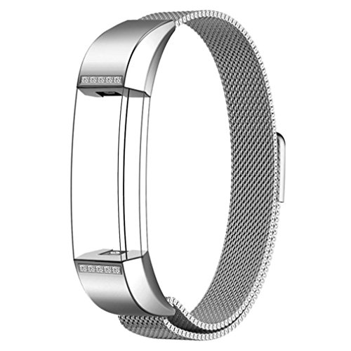 GBSELL New Fashion Crystal Milanese Magnetic Loop Stainless Steel Band For Fitbit Alta Smart Watch (Crystal White)
