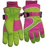 N'Ice Caps Girls Waterproof Ski Glove with Neon Colourblock Swirls