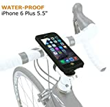 Bike Mount Waterproof, Jebsens Rotatable Bicycle Phone Mount WPI6P, iPhone 6 Plus & 6S Plus Shock Resistant Stemcap Bike Mount Holder with Waterproof Phone Case, Handle Bar Adapter and Rubber Strap