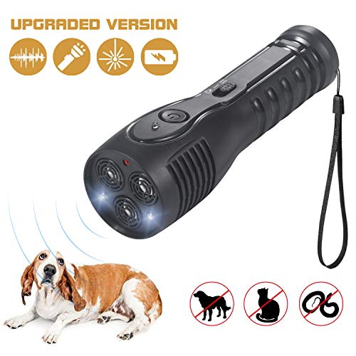 PetUlove Handheld Ultrasonic Dog Repellent, Dog Bark Deterrent Rechargeable with LED Flashlight Infrared Anti Barking Device Good Behavior Dog Training[Upgraded Version]