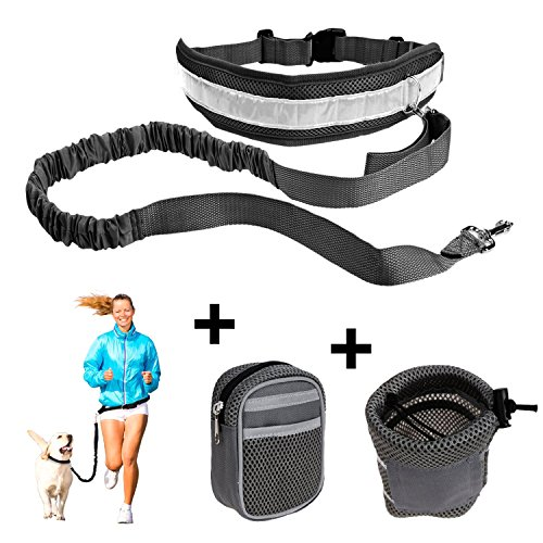 poppypet Hands Free Dog Leash for Runners, Dog Walking Belt and Jogging Leash, Hands Free Retractable Dog leash with 2 Waist Pack Bags Black