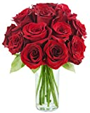 KaBloom Romantic Red Rose Bouquet: 12 Fresh Cut Red Roses with Vase