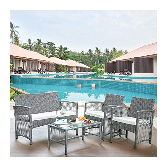 Merax Patio Conversation Set Outdoor Garden Lawn Pool Rattan Sofa Wicker Furniture Set Coffee Table Bistro Sets with Weather Resistant Cushions (Grey) - ✨Durable PE Rattan: This rattan outdoor patio set manufactured from hardy PE rattan and that is water proof and coated with a UV resistant coating, increasing the longevity for years of use. ✨Sturdy Steel Frame: Each piece of this outdoor furniture is meticulously constructed from powder coated steel, offering stability and build quality. ✨Modern Design: Sleek, elegant lines give this sofa set a unique, hollow look while also being breathable and comfortable, transforming your back garden into a relaxtion zone. - patio-furniture, patio, conversation-sets - 5139zGeAFJL. SS570  -