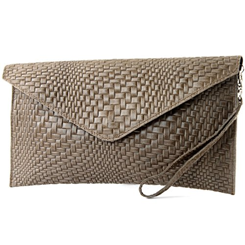 Clutch Wrist bag bag underarm ital pattern Terrabraun bag Modamoda bag de T106F Leather Handbag Evening Braid gRxI4