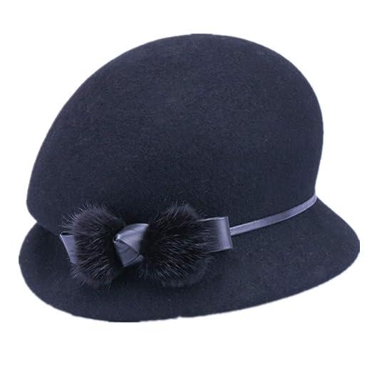 d8084ddd40c YSJOY Stylish 100% Wool Pom Pom Belt Dome Fisherman Hat Warm Bucket Hats  Beret Hat