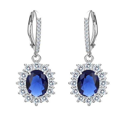 Diana Sapphire Earrings - EVER FAITH 925 Sterling Silver CZ Elegant Flower Prong Setting Leverback Dangle Earrings Blue